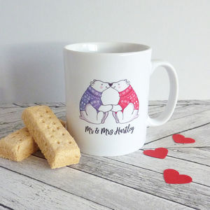 Polar Bear Couple Personalised Mug