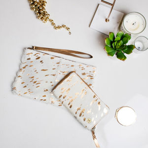 Cream And Copper Pony Hair Clutch And Purse Set