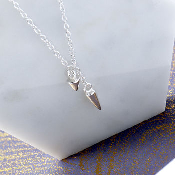 Spike Drop Sterling Silver Necklace