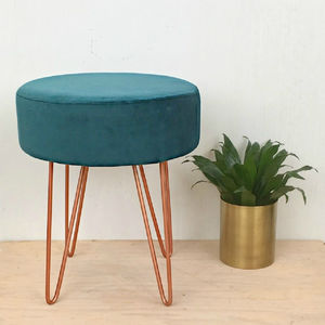 Teal Velvet And Copper Stool - footstools & pouffes