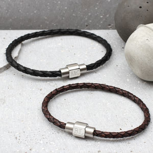 Mens Personalised Clasp Slim Leather Bracelet - stocking fillers