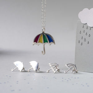 Silver Umbrella Stud Earrings