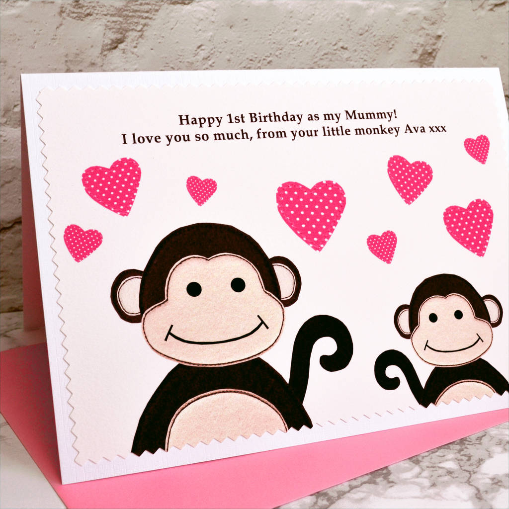 little monkey personalised birthday card by jenny arnott cards – Birthday Cards Personalised