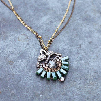 Vintage Style Handmade Crystal Pendant Necklace