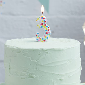 Polka Dot Candle Number Three Birthday Cake Candle