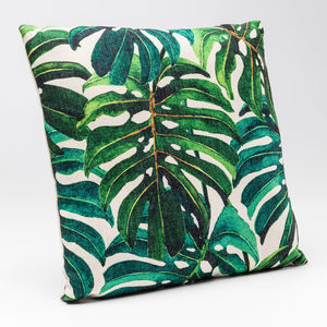 Tropical Leaf Jungle Print Cushion - cushions