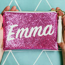 Personalised Glitter Clutch Bag With Tassel Charm