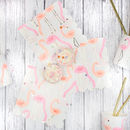 Neon And Gold Flamingo Pattern Party Napkins