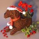 Christmas Puppy Planter With Optional Faux Cyclamen
