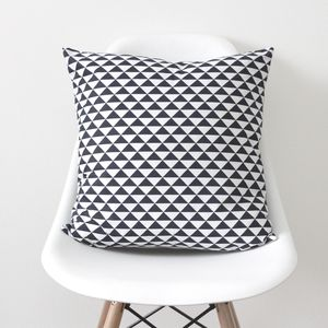 Geometric Triangles Navy Cushion Cover - bedroom