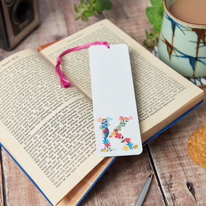 Personalised Floral Initial Bookmark