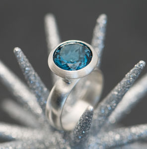 Blue Topaz Halo Ring - rings