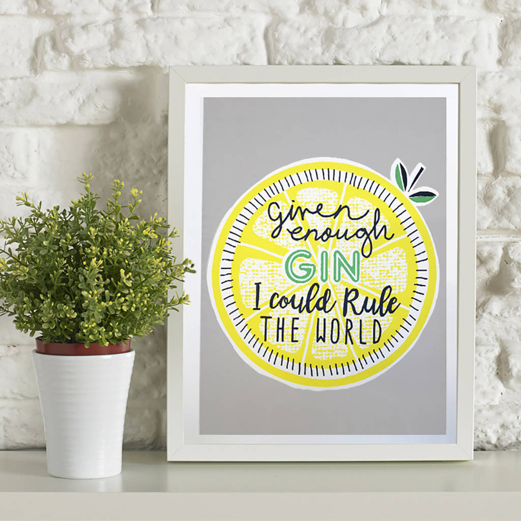gin rules screen printed wall art by ginger line designs ...