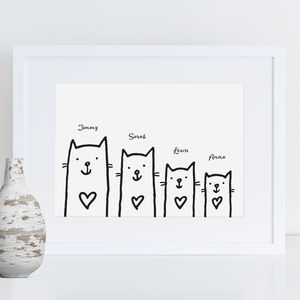 Personalised Cat Family Print - prints & art sale