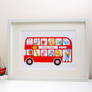 Personalised London Bus New Baby Print