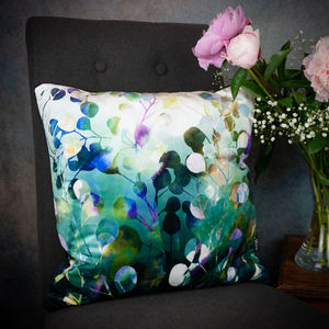 'Midnight Botanica' Floral Velvet Cushion In Amethyst