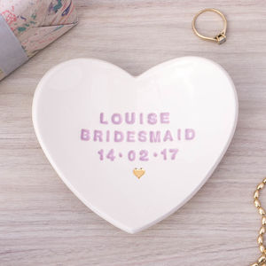 Personalised Bridesmaid Gift Ring Dish - jewellery storage & trinket boxes