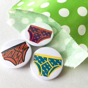 Fancy Pants Set Of Button Pin Badges - pins & brooches