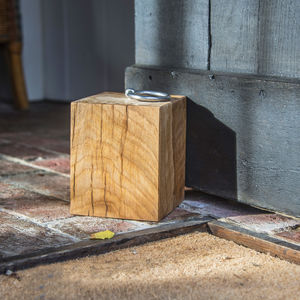 Personalised Cube Oak Door Stop