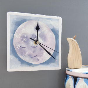 Man In The Moon Marble Clock - baby's room