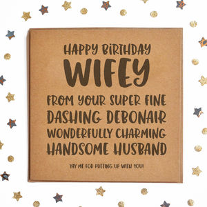 Happy Birthday Wifey Square Card - what's new