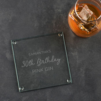 Personalised Glass Birthday Coaster