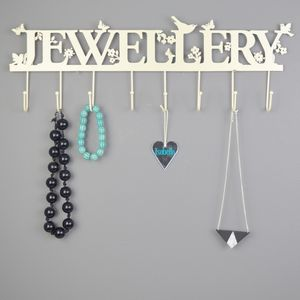 Personalised Big 'Jewellery' Hooks And Necklace Hanger - jewellery storage & trinket boxes