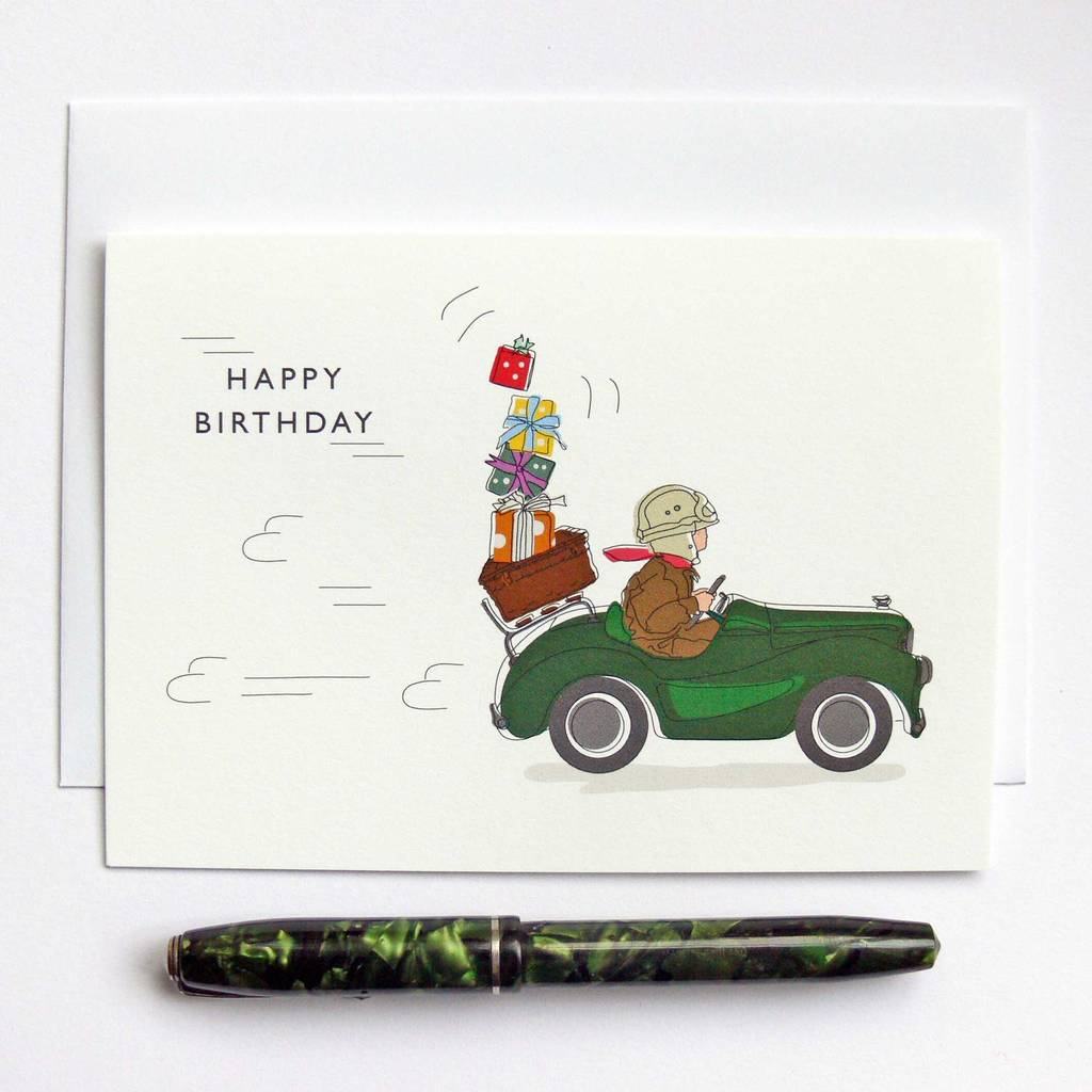 Pedal Car Presents Birthday Greeting Card By The Sardines Whiskers