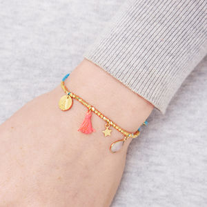 Personalised Gold Charm Friendship Bracelet - bracelets & bangles