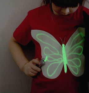 Butterfly Glow In The Dark Interactive Kids T Shirt - clothing