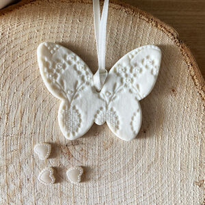 White Porcelain Lace Butterfly Decoration