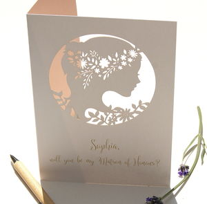 Boho Matron Of Honour Personalised Card