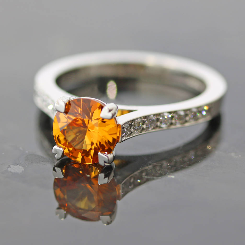 Orange Sapphire And Diamond Ring By Flawless Jewellery