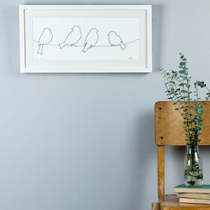 Framed Original 2D Wire 'Birds On A Wire' Artwork