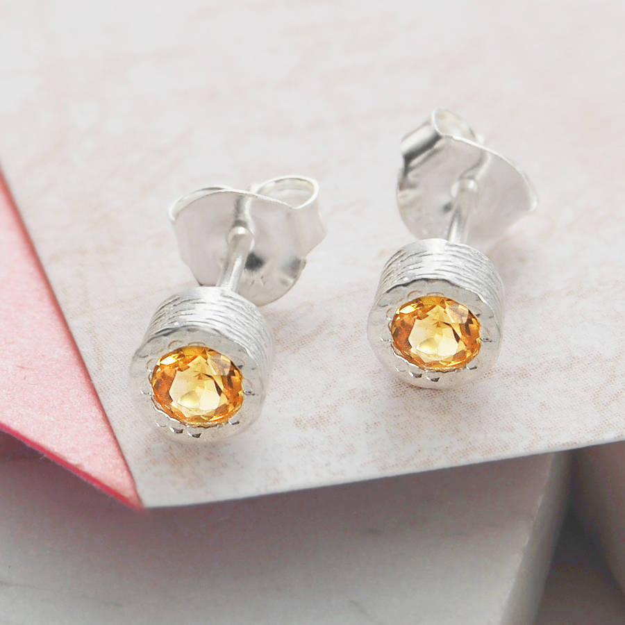 Silver Citrine November Birthstone Round Stud Earrings