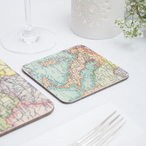 Personalised Map Coasters - 80th birthday gifts