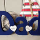 Dad Freestanding Wooden With Personalised Hearts