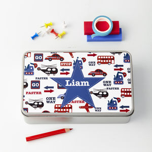 Boys Personalised Storage Tin - children's room