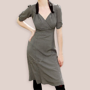 1940s Style Day Dress In Our New Jet Fan Print Crepe