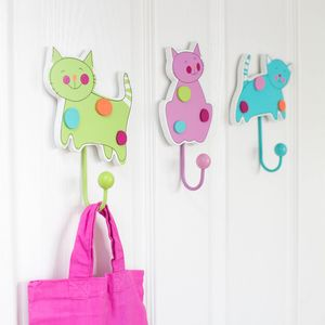 Crazy Cat Wooden Wall Hooks - bedroom