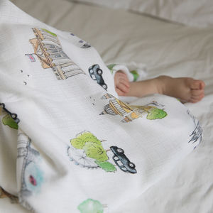 Bamboo Baby Swaddle London Blanket - decorative accessories