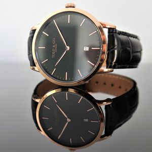 Montpellier Rose Gold And Black Watch - mens
