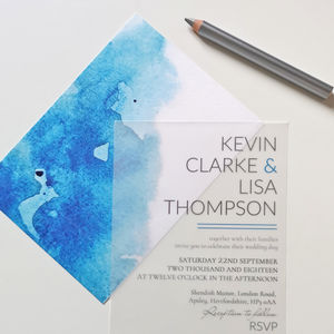 Turquoise Watercolour Wedding Invitation With Vellum