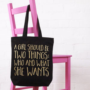 'A Girl Should Be Two Things' Cotton Tote Bag - shopper bags