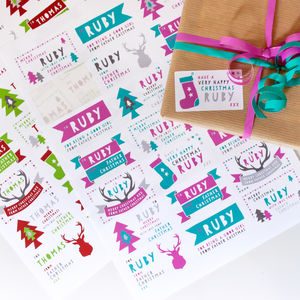 Personalised Father Christmas Sticky Gift Labels