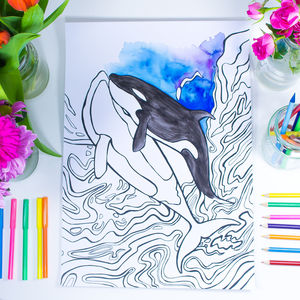 Orcas In Love Colouring Print