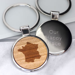 Personalised Our Happy Place Keyring - our memories
