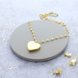 Gold Heart Charm Pearl Necklace