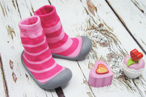 Pink Stripe Sock Shoe - babies' shoes, sandals & boots
