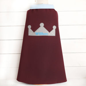 Personalised Embroidered Boys Prince Cape - children's parties